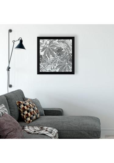 Quadrinho Decorativo Folhagem Tropical Preto e Branco