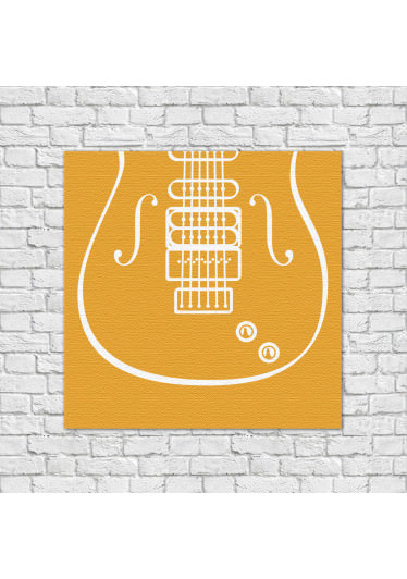 Quadro Decorativo Guitarra Amarelo
