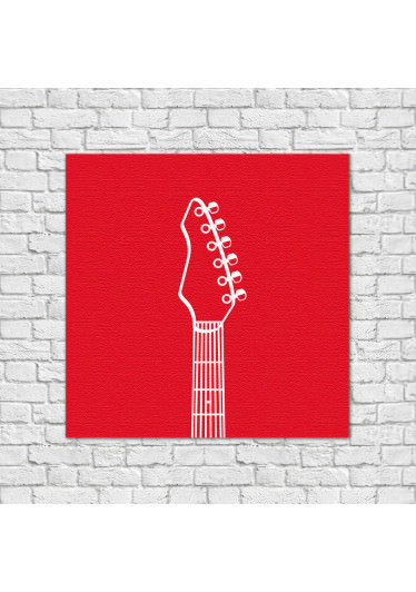 Quadro Decorativo Guitarra Vermelho