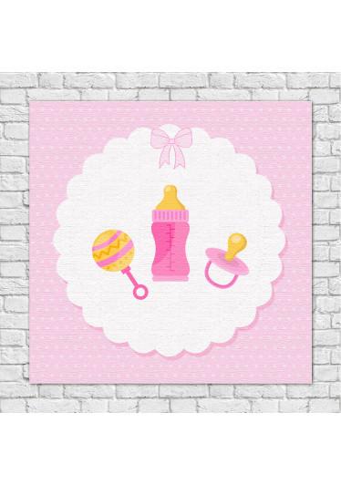 Quadro Decorativo Infantil Chocalho mamadeira e Chupeta Rosa