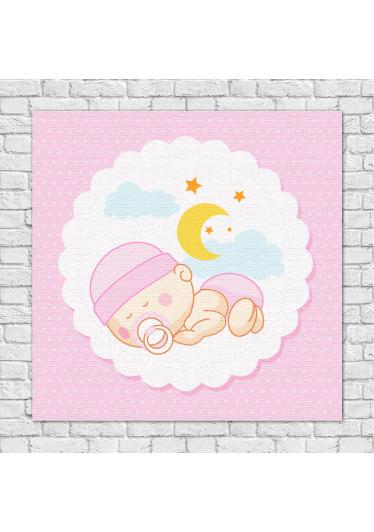 Quadro Decorativo Infantil Bebê dorminhoco Rosa