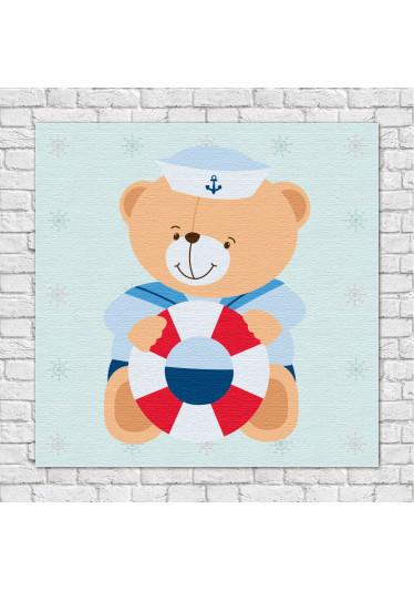 Quadro Decorativo Infantil Ursinho Marinheiro Boia