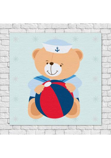 Quadro Decorativo Infantil Ursinho Marinheiro Bola