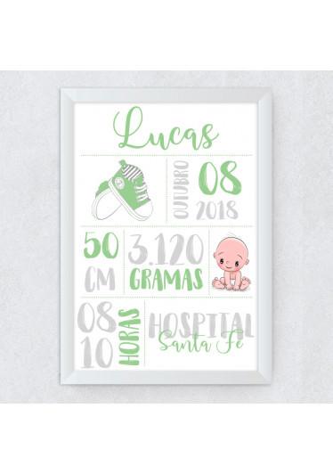 Quadro Decorativo Infantil Nascimento Verde