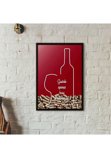 """Quadro Porta Rolhas de Vinho - """"Guardo Apenas Boas Lembranças"""" (Moldura Preta) - Fundo Vinho"""
