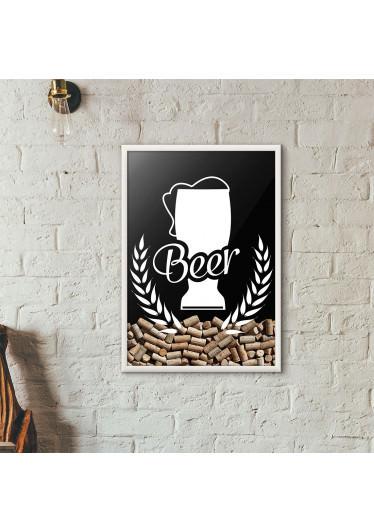 Quadro Porta Tampinhas de Cerveja - Tulipa Beer - Preto