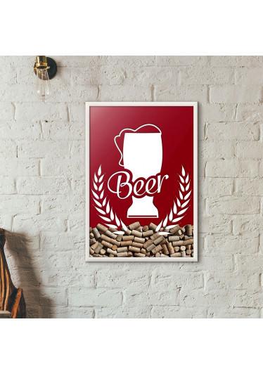 Quadro Porta Tampinhas de Cerveja - Tulipa Beer - Vinho
