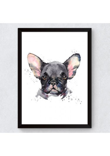 Quadro Decorativo raca Buldogue Francês Aquarela