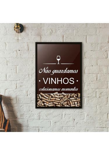 Quadro Porta Rolhas de Vinho - Colecionamos Momentos - Marrom