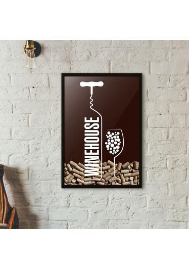 Quadro Porta Rolhas de Vinho - Wine House - Marrom