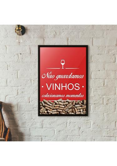 Quadro Porta Rolhas de Vinho - Colecionamos Momentos - Vermelho