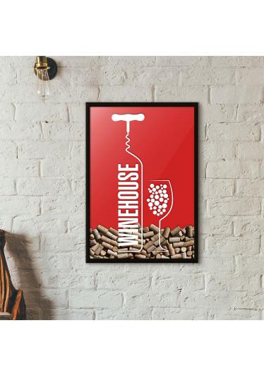 Quadro Porta Rolhas de Vinho - Wine House - Vermelho