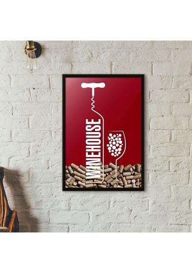 Quadro Porta Rolhas de Vinho - Wine House - Vinho