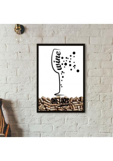 Quadro Porta Rolhas de Vinho - She Likes - Branco