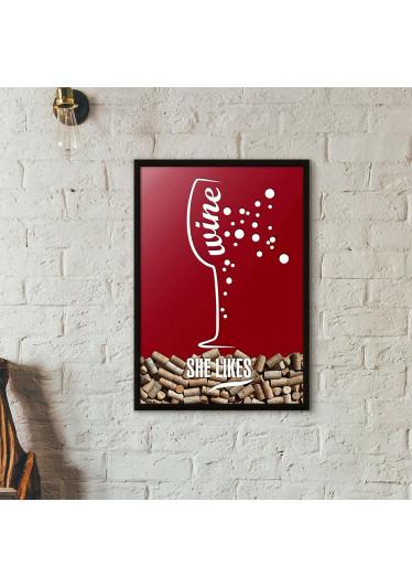 Quadro Porta Rolhas de Vinho - She Likes - Vinho