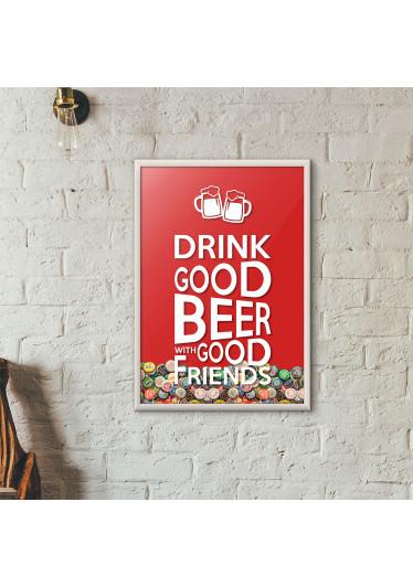 """Quadro Porta Tampinhas de Cerveja - """"Drink Good Beer with Good Friends"""" Vermelho"""