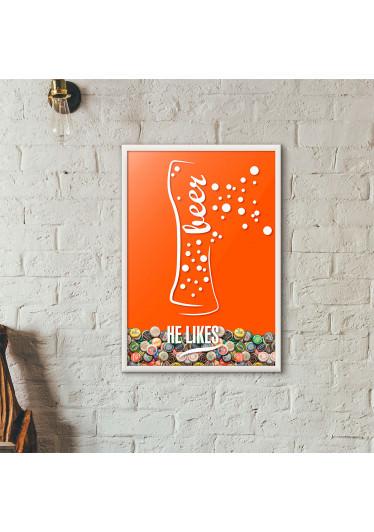 Quadro Porta Tampinhas de Cerveja - He Likes - Laranja