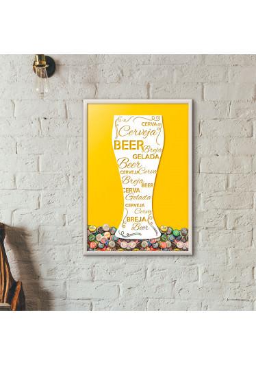 Quadro Porta Tampinhas de Cerveja - Tulipa Decorada Amarelo