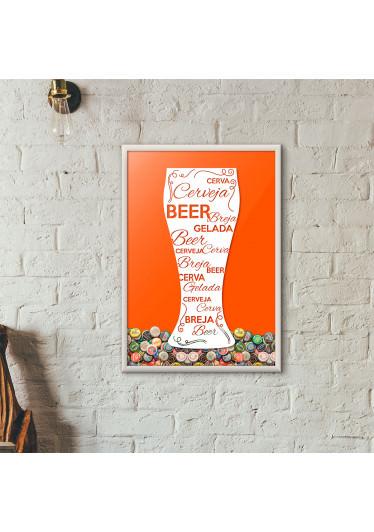 Quadro Porta Tampinhas de Cerveja - Tulipa Decorada Laranja
