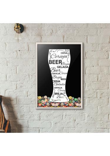 Quadro Porta Tampinhas de Cerveja - Tulipa Decorada Preto