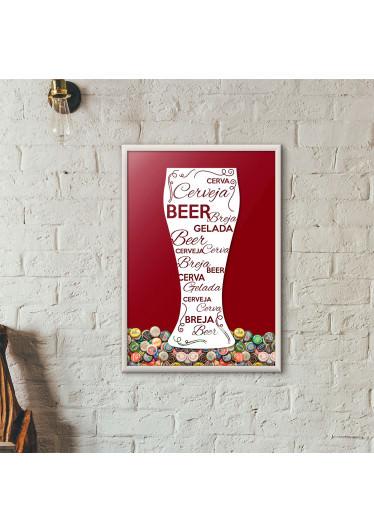 Quadro Porta Tampinhas de Cerveja - Tulipa Decorada Vinho