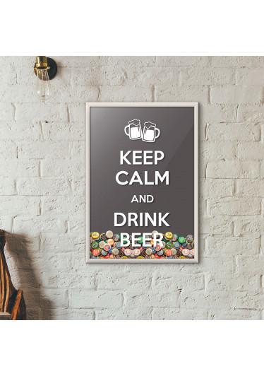 """Quadro Porta Tampinhas de Cerveja - """"Keep Calm And Drink Beer"""" (Moldura Branca) - Fundo Cinza"""