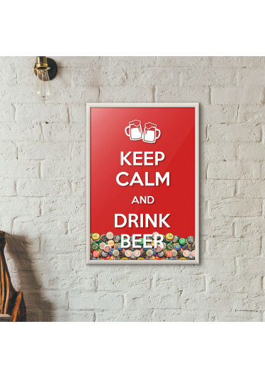 """Quadro Porta Tampinhas de Cerveja - """"Keep Calm And Drink Beer"""" (Moldura Branca) - Fundo Vermelho"""