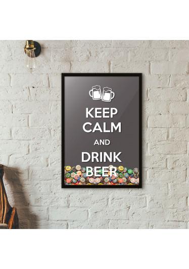 """Quadro Porta Tampinhas de Cerveja - """"Keep Calm And Drink Beer"""" (Moldura Preta) - Fundo"""