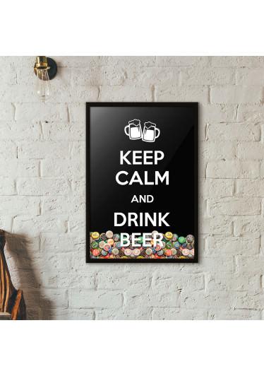 """Quadro Porta Tampinhas de Cerveja - """"Keep Calm And Drink Beer"""" (Moldura Preta) - Fundo Preto"""