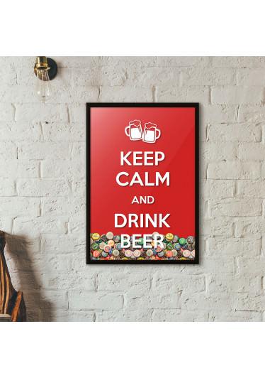 """Quadro Porta Tampinhas de Cerveja - """"Keep Calm And Drink Beer"""" (Moldura Preta) - Fundo Vermelho"""