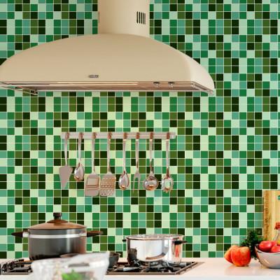 Adesivo para Azulejo Português Hidráulico Pastilhas Verdes