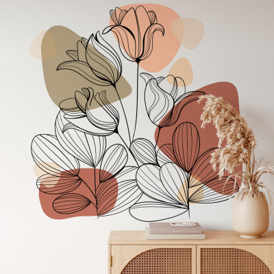 Adesivo de Parede Floral de Peônia