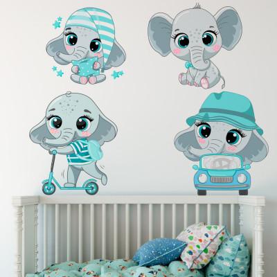 Adesivo de Parede Infantil Elefantinhos Fofos (Roxo)