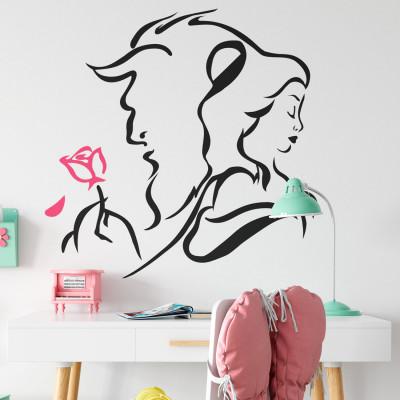 Adesivo de Parede Cavalo Rosa com Menina