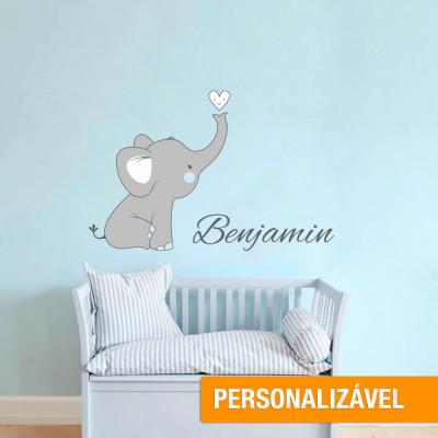 Adesivo de Parede Infantil Elefante Como Nome Personalizado