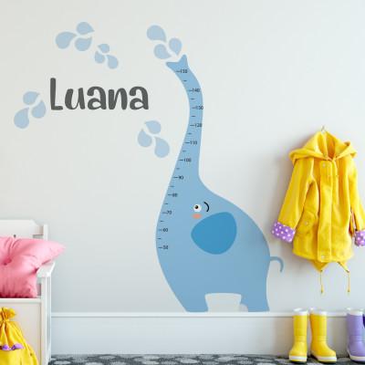 Adesivo de Parede Infantil Régua Medidora Elefante