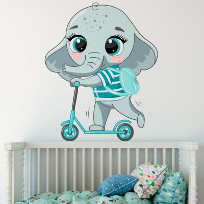 Adesivo de Parede Elefante com Carrinho (Azul)