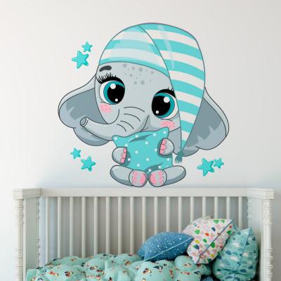 Adesivo de Parede Infantil com Elefante de Patins
