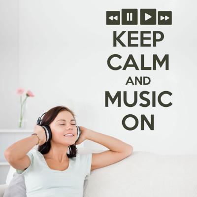 Adesivo de Parede Keep Calm and Music On