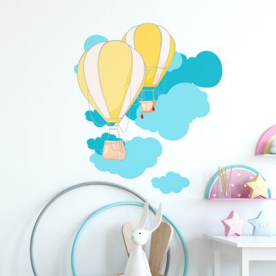 Adesivo de Parede Infantil Balões Amarelo e Nuvens