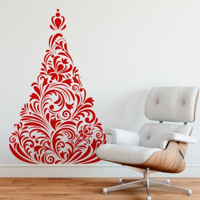 Adesivo de Parede Árvore de Natal Floral Arabesco