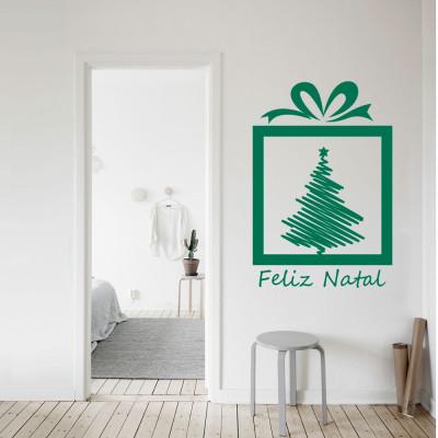 Adesivo de Parede Presente de Natal com Árvore