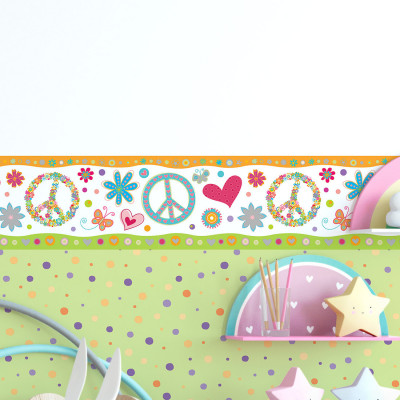 Faixa Decorativa Infantil Peace And Love - Has#Tag - Rolo com 5 Metros
