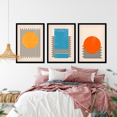 Conjunto de Quadros Decorativos Bolhas e Linhas Geométricas