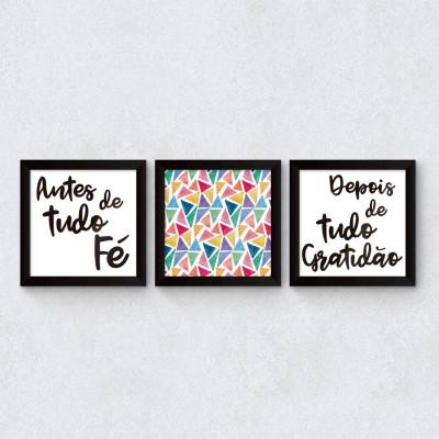 """Conjunto de Quadros Decorativos """"Antes Fé, Depois Gratidão"""" II"""