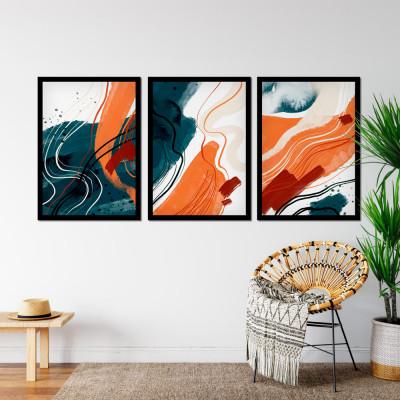 Conjunto de Quadros Abstratos Azul