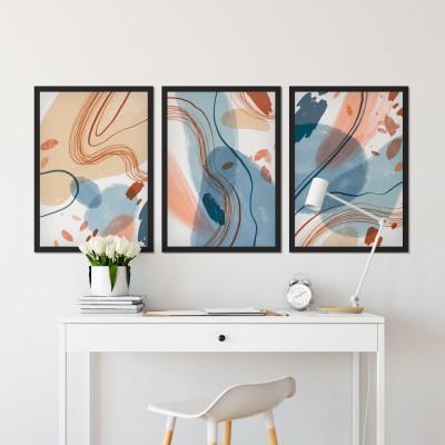 Conjunto de Quadros Decorativos Abstrato