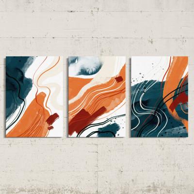 Conjunto de Quadros Decorativos Círculos e Linhas Abstratas - Em Canvas