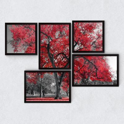 Conjunto de Quadros Decorativos Árvore Vermelha