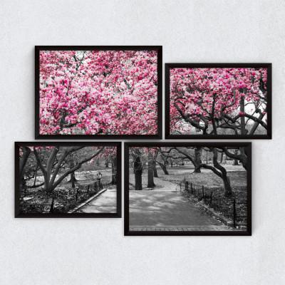 Conjunto de Quadros Decorativos Assimétrico Árvore Rosa